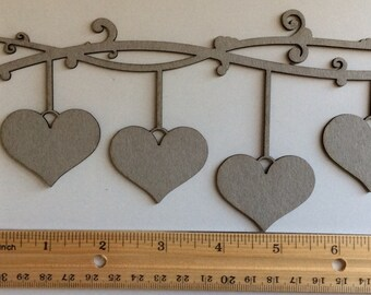 Bare Chipboard Four Hanging Hearts on Flourish, laser cut - Great for scrapbooking, Wedding albums, mixed media projects