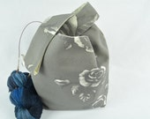 Knitting project bag - Yarn bag - Japanese Knot Bag – Kintting Project bags - Medium - Cotton – Wristlet pouch