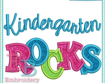 Kindergarten Rocks Applique - This design is to be used on an embroidery machine. Instant Download