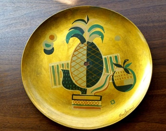 Georges Briard Signed Hand Painted Pineapple tray