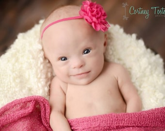 Petite Amelia Hot Pink Flower Headband, Newborn Photo Prop, Baby Headband, Simple Headband, Newborn Headband, Flower Headband