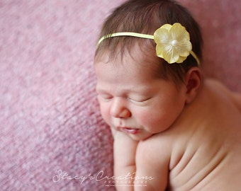 Petite Yellow Flower Headband, Baby Headband, Newborn Headband, Simple Headband, Newborn Photo Prop, Flower Headband, Yellow Headabnd