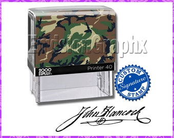 Custom Personalized Signature Self Inking Rubber Stamp Camouflage Theme