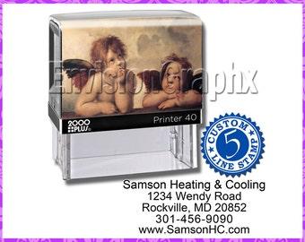 Custom Personalized 5 Line Address Self Inking Rubber Stamp Cherub Theme