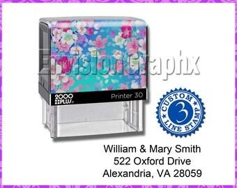 Custom Personalized 3 Line Address / Message Self Inking Rubber Stamp Sakura Flowers Theme