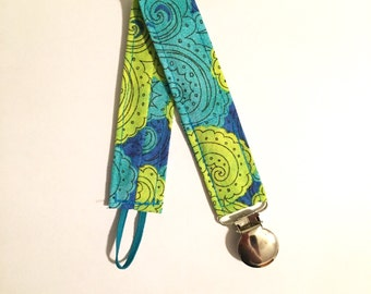 CLEARANCE: Paisley Pacifier Clip - Lime Turquoise Blue - Gender Neutral