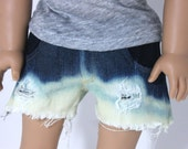 Ombre Bleached and Destroyed Denim Shorts-American Girl Doll