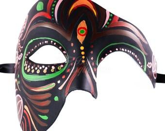 Dia de los Muertos Sugar Skull Phantom Mask, Day of the Dead Masks for Decor Halloween Masquerade Mask for Celebrations & Remembrance