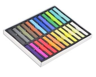 24 Colours Non-Toxic Temporary Hair Colour Chalk Dye - Soft Pastels Salon Kit [1345]