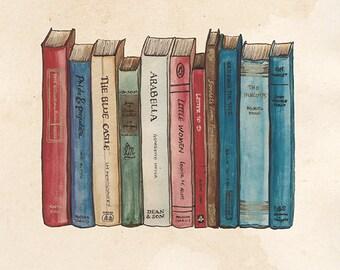 Classic Books Illustration A4 Print