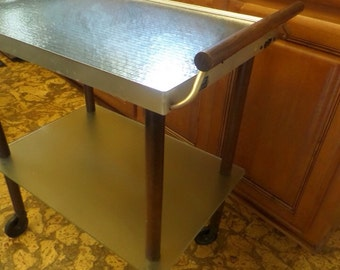 Vintage Mid Century Rolling Kitchen Cart Warming Tray Mid-Century-Modern-Retro-Decor-Rolling-Tray-on-Wheels-Cart-Wood-Accent-Handle-Glass