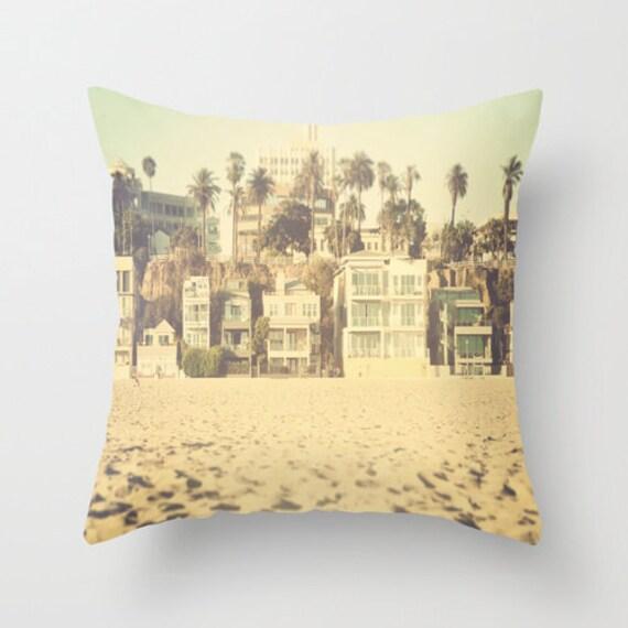 Beach Cottage Throw Pillows : Santa Monica Beach House Throw Pillow beach cottage decor