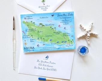 Destination Wedding Save The Date, Illustrated Wedding Map Save The Date, Save The Date Cards, Beach Wedding, Aruba