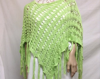 Poncho top,Lime Green, Knit Poncho, Fringed