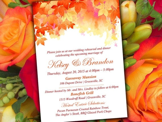 Who Is Invited To The Wedding Rehearsal Dinner: Fall Rehearsal Dinner Invitation Template Autumn Wedding