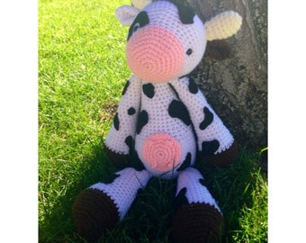 Amigurumi cow stuffed animal farm animal toy plushie plush toy birthday gift christmas present custom gift
