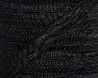 Black Fold Over Elastic - Elastic For Baby Headbands and Hair Ties - 5 Yards of 3/8 inch FOE