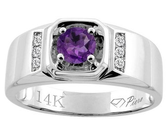 "14K White Gold Natural Amethyst Men's Ring, Diamond Accented, 5/16"" wide, Sizes 9 - 14"