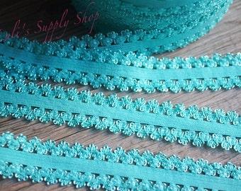 "1 Yard Aqua Frilly Elastic - Lace edge elastic - Aqua Picot Edge Elastic- 3/4"" Elastic with crocheted lace edges"