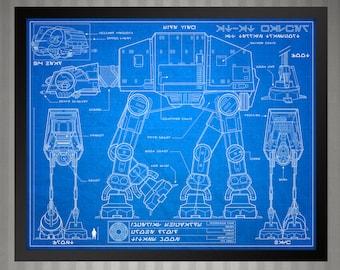 Star Wars Blueprint Style - AT-AT Walker: 8 x 10 print