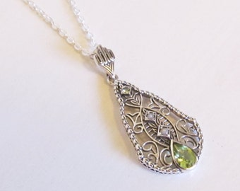 Genuine Peridot & Seed Pearl Sterling Silver Filigree Pendant Necklace /Antique Vintage Art Deco Victorian