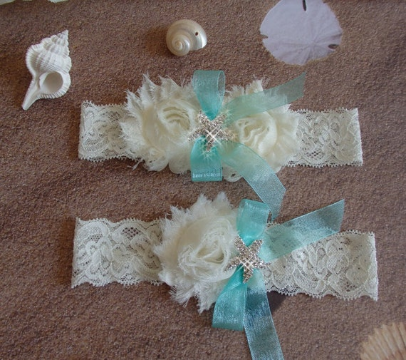 Beach Wedding Garter: Items Similar To Beach Bridal Garter, Starfish Wedding