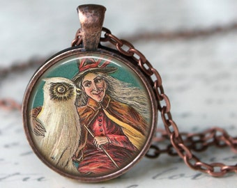 WICKED WITCH with Owl Necklace Pendant Witchy Jewelry Witchcraft Halloween necklace Witchcraft Jewellery Wiccan pendant necklace