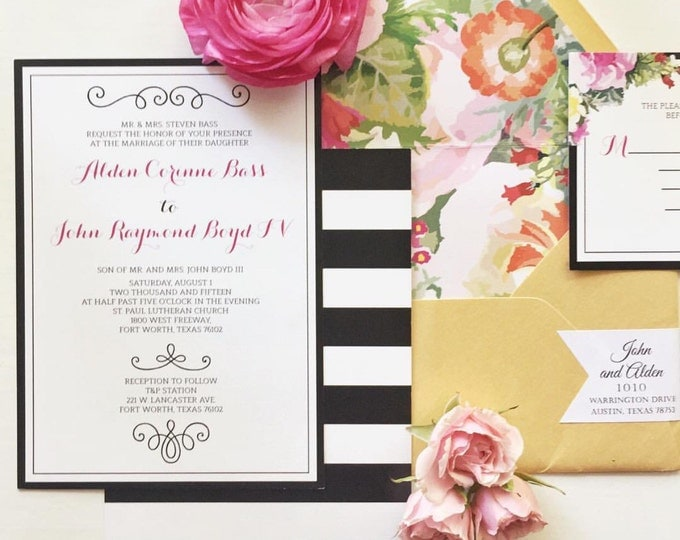 5x7 Modern Pink and Gold Floral Wedding Invitation with Black & White Stripes Includes Envelope Liner with RSVP