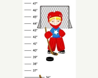 ON SALE Personalized Hockey Canvas Growth Chart