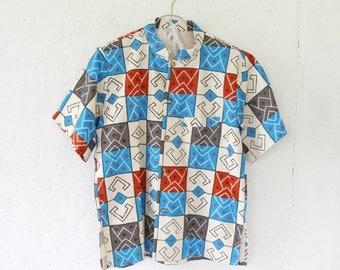 Vintage 80s Boho Folk Shirt // High Neck Shirt // Rough Cotton Shirt // Folk Print Shirt // Ivory Blue Shirt // Shirt Size Large L