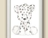 Baby Snow Leopard - Safari Nursery Art - Nursery Decor - PRINT - Safari Animals, Wall art,  Watercolor Print, Baby Animals, nursery Decor