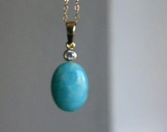 Aqua Amazonite Gemstone Necklace, Semi Precious Stone Necklace, Womens Necklace, Gold Filled chain