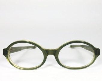 Vintage 1960s Green Translucent Round Eyeglass Frame - Fern