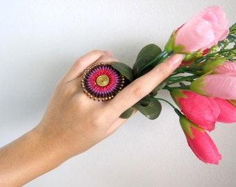 Circle Woven Wax Cord  Adjustable Ring Colorful Wax String Jewelry Thailand Handmade. JR1043