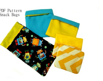 4 Sizes Reusable Snack Bags - Waste Free Fold Over Snack Sacks in- Perfect for Lunch Bags PDF Sewing Pattern