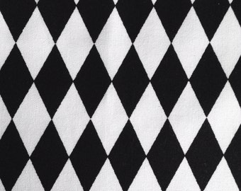 One Half Yard of Fabric Material, Quilting Cotton - Black and White Harlequin Diamonds