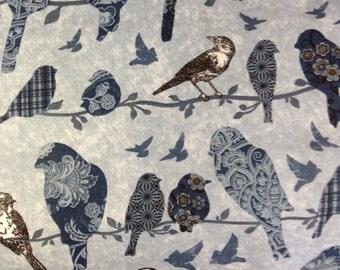 One Half Yard of Fabric Material - Patterned Birds Indigo