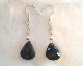 Sparkling Black Spinel Drop Earrings