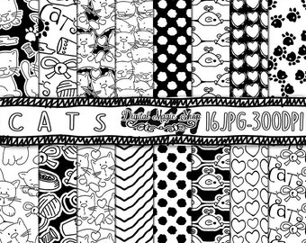 Cat Digital Paper, Black and White, Seamless Patterns- 16pcs 300dpi, (paper crafts, card making, scrapbooking) Commercial use