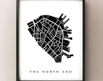 The North End Neighborhood Map Print - Boston, Massachusetts