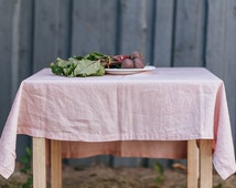 Linen Tablecloth Dusty Pink Stone Washed Baltic Linen Tablecloth Eco Friendly Vegan High Quality Product