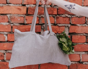Tote Bag Natural Linen Grey Stone Washed Baltic Linen Extra Big Bag Market Bag 100% Linen