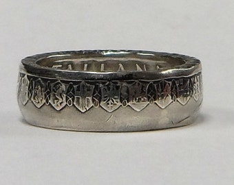 Coin Ring made from Italian 500 Lire Coin sizes  9- 15