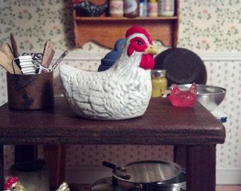 Miniature white and red ceramic chicken Item #17127
