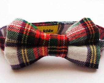 Red Tartan Handcrafted Bow Tie For Infants, Toddlers, Teens And Adults, Hipster Baby Boy