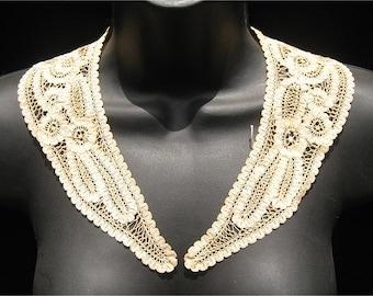 Antique Ecru Princess Tape Lace Collar