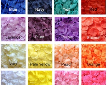 500 Silk Rose Petals - 17 Colors Available, Silk Petals, Artificial Petals, Fake Rose Petals, wedding aisle runner petals, flower girl toss