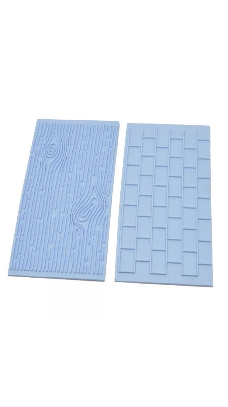 Wood Brick 2pc Impression Mat Mold Fondant Candy Gumpaste