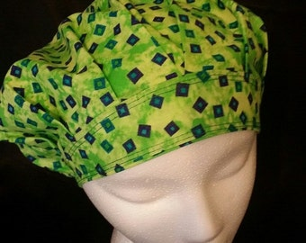 Earth Bright Natural Green Bouffant Surgical Scrub Hat With Banded Front & Toggled Back