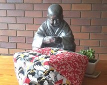 Unique Japanese style Ojami Floor Cushion or pillow, Geisha and floral print in red, black and white.